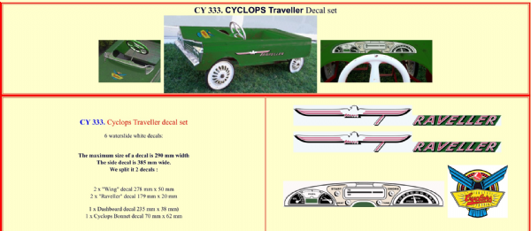 CY333 Cyclops Traveller Pedal Car decal set